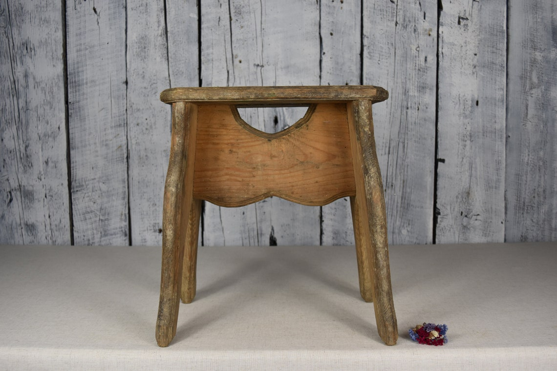Vintage wooden stool / Rustic wooden bench / Old wooden seat / Wooden chair / Rustic decor / Home decor