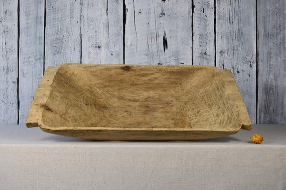 Antique Wooden Dough Bowl Primitive Rustic Wooden Dough Bowl Vintage Cookware Old Hand Carved Bowl Wooden Trencher Home Decor