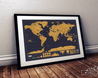 Scratch Map Etsy - Framed scratch world map