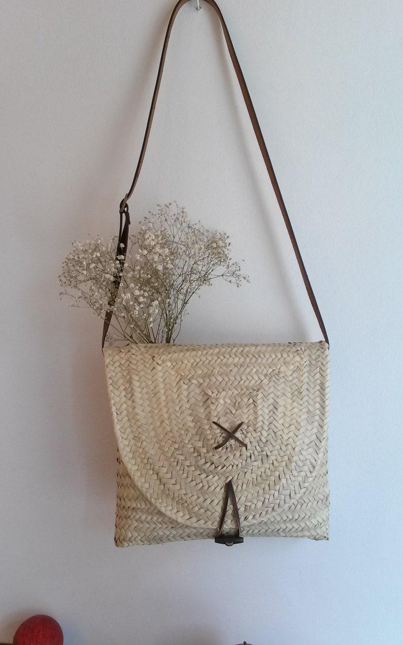 daf5ca9731 Sac cabas carré sac à main sac à main en palme sac d été | Etsy