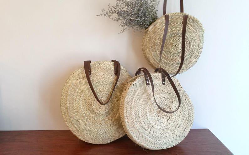 Round straw caba bag with long leather handles palm handbag M - 30 a 32 cm