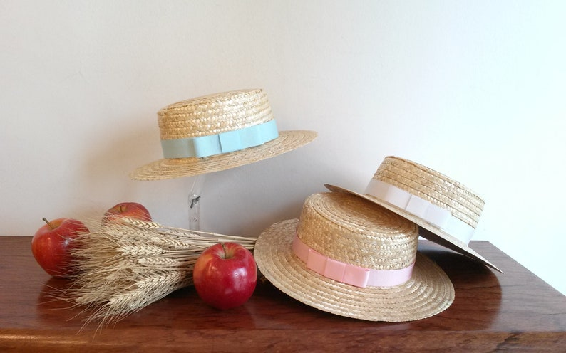 1e7e1ed15 Child Boater child Boater straw natural straw hat summer hat, kids wedding  hat, Kids Beach hat.