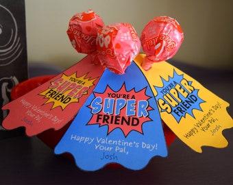 Super Hero Lollipop Valentine, You're A Super Friend, Children's Valentines, Kids Valentines, School Valentine, Classroom Valentine