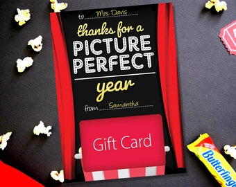 Teacher Gift Card Holder, Thanks For A Picture Perfect Year, Teacher Appreciation Thank You Card, End of the Year Teacher Gift