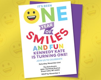One Year of Smiles and Fun Birthday Party Invitation, Kid's Birthday Invitation, Children's Birthday Invitation, Birthday Invites