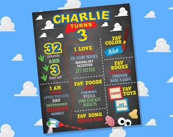 Toys Birthday Stat Chart, Digital Toys Birthday Milestone Sign, Printable Toys Birthday Milestone Poster