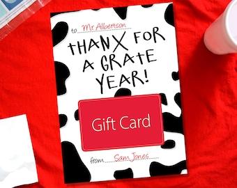 Teacher Gift Card Holder, Thanx For A Grate Year, Teacher Appreciation Thank You Card, End of the Year Teacher Gift
