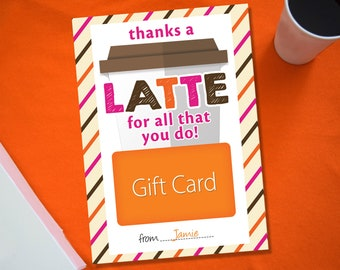 Teacher Gift Card Holder, Thanks A Latte For All That You Do, Teacher Appreciation Thank You Card, End of the Year Teacher Gift