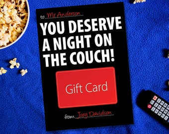 Teacher Gift Card Holder, You Deserve A Night On The Couch, Teacher Appreciation Thank You Card, End of the Year Teacher Gift