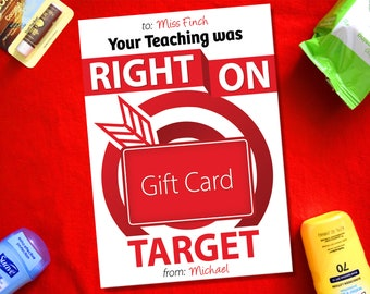 Teacher Gift Card Holder, Your Teaching Was Right On Target, Teacher Appreciation Thank You Card, End of the Year Teacher Gift