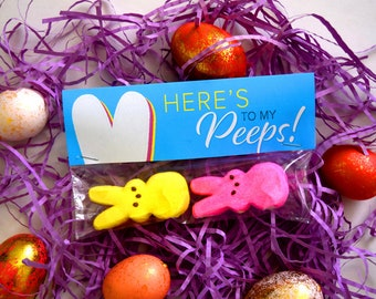 Easter Bunny Tags, Here's to My Peeps, Marshmello tags, Children's Easter tags, Classroom tags