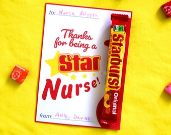 Candy Themed Card, Thanks for being a Star Nurse, Printable Nurse Appreciation Thank You Card Instant Download