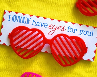 Sunglass Valentine, I only have eyes for you, Children's Valentines, Kids Valentines, School Valentine, Classroom Valentine