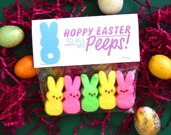 Easter Bunny Tags, Hoppy Easter to All My Peeps, Marshmello tags, Children's Easter tags, Classroom tags