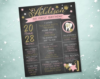Twinkle Twinkle Little Star Birthday Stat Chart, Digital Birthday Milestone Sign, Printable Birthday Milestone Poster