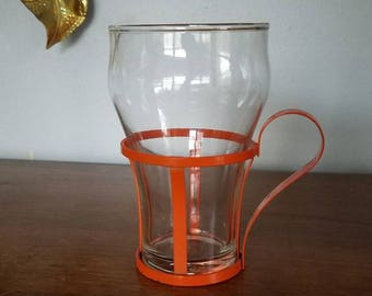 Vintage Glass with Metal Carrier, Cup, Planter