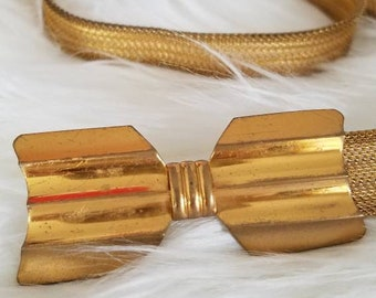 Gold Bowtie Belt, Metal Cinch Accent