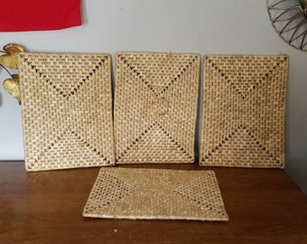 Medium Size Raffia Mats, Set of Four