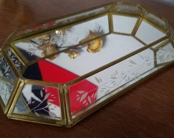Brass Glass Mirror Tray, Curio Tray