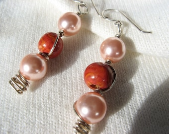 Romantic earrings pearls pink and wood silver plated