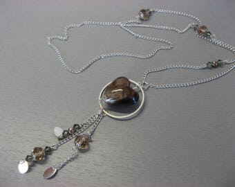 Brown iridescent Heart Necklace beige-grey Swarovski Crystal, glass handmade and plated silver