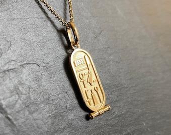 Egypt pendant Egyptian cartridge Tutankhamun yellow gold 18K unisex