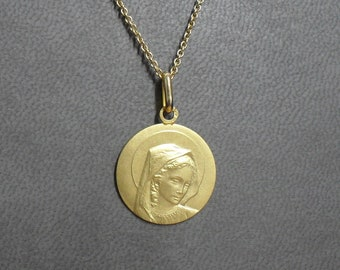 18K Yellow Gold Virgin Medal