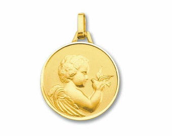 Angel medal with yellow gold dove 18K