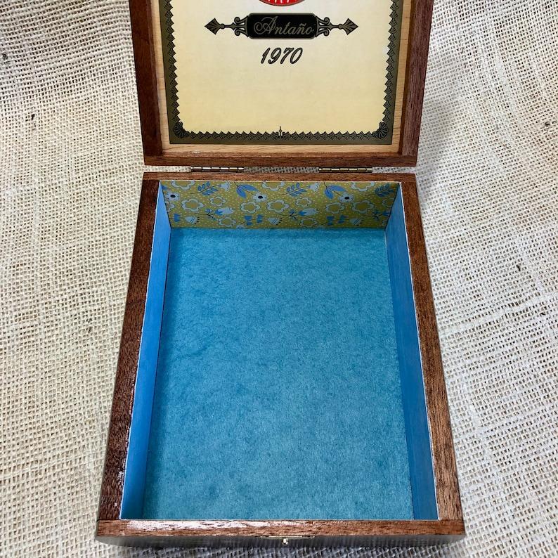Up Cycled Cigar Box Jewelry Organizer Box Decorated Cigar Box Wood Jewelry Box Jewelry Storage Box Repurposed Cigar Box