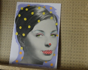 SHE DOT IT - Original Collage Painting - Mixed Media Art