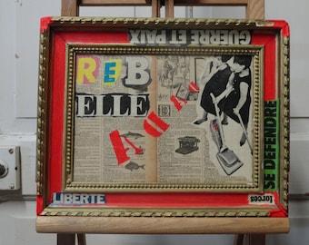 BREAK FREE - Original Collage Painting - Mixed Media Art - Vintage frame