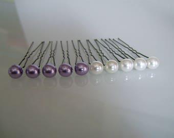 lot 10 Pics pinces épingles accessoires cheveux Chignon p robe Mariée  Mariage Soirée Cérémonie Perle Blanc  Mauve Violet Parme pas cher 0c13cb6b6b95