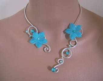 "Blue Turquoise necklace / ""/ aluminium/aluminum/silver p"" Silver flower bridal/wedding/evening/cocktail dress"