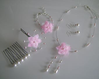 Adornment jewelry Necklace/Bracelet/earrings/Pics white pink clear/pale/soft bridal/wedding/ceremony beads flower (not cheap, small price)
