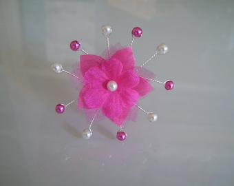 Stick pin/clip/hair jewelry hair accessory p dress/bridal/wedding/party/ceremony Flower Pink/Fuchsia/ivory white (cheap)