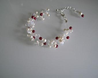 Bracelet ivory/cream/Ecru/white/Beige off-white light Bordeaux red pr dress of bride/wedding/party/ceremony beads glass/crystal (cheap)