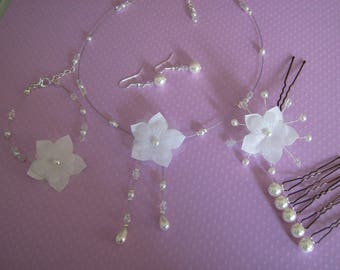 Adornment jewelry necklace white bridal/wedding beads original flower