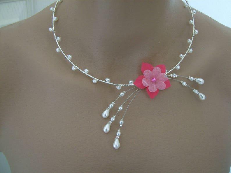 41c50c956 Collier Rose/Fuchsia/Corail/Blanc pr robe de  Mariée/Mariage/Soirée/Cérémonie/Coktail, perles nacrées Fleur original  (petit prix pas cher)