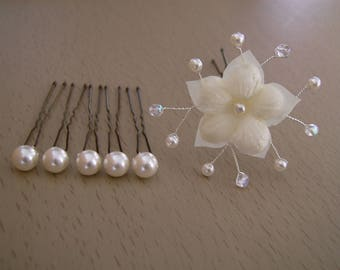 Spikes/hairpin/jewelry/accessory/clip hair accessories bridal / wedding / evening / cocktail / ceremony /Cristal Fleur Ivory Pearl (cheap)