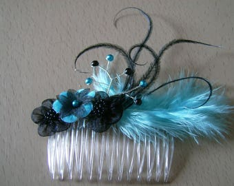 Blue turquoise/black hair/Pic/clip/pin/hair comb accessory beads flowers feathers p dress bridal/wedding/party/ceremony/cocktail, original jewelry (small price, not