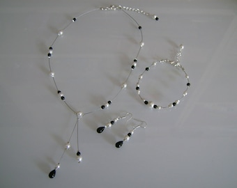 Adornment jewelry Necklace Bracelet earrings white/black bridal/wedding/party/ceremony/Christmas/holiday (pr dress) (cheap)