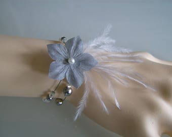 Bracelet gray/ivory/white off-white/cream/rhinestone Crystal bridal / wedding / party / ceremony / cocktail (pr dress of) Pearl flower (cheap)