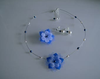 Adornment jewelry necklace/earrings/hair clip (clip) Blue Royal/Dark/Navy/white/ivory dress bridal/wedding beads not expensive original flower