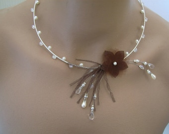 Necklace chocolate / brown/ivory/cream/Ecru/white off-white/Beige/Crystal pr dress of bride/wedding/evening beads Fleur original feathers not cheap