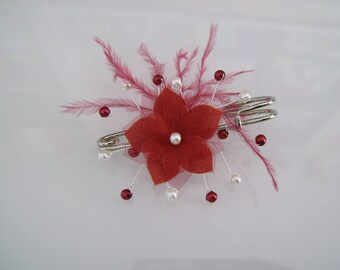 Clip/back train / Burgundy/ivory pearls flower feathers p brooch dress bridal/wedding/ceremony/Cocktail