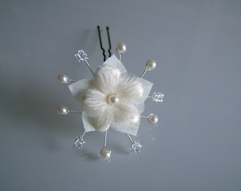PIC/hairpin/jewelry/accessory/clip hair / bun bridal / wedding / party / ceremony / cocktail ivory / crystal flower bead