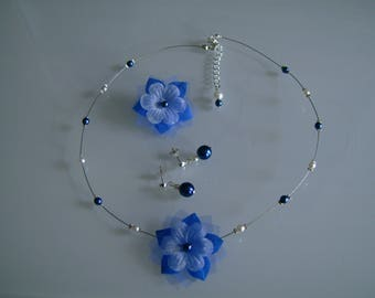 Adornment jewelry necklace/earrings/hair clip (clip) Blue Royal/Dark/Navy white (or ivory) bridal/wedding beads original, cheap flower