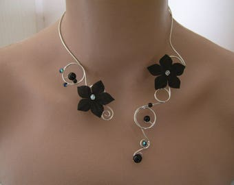 "Original black necklace / ""Money"" / Silver/Crystal pr dress flower bridal/wedding/evening/cocktail/ceremony/new year's Eve (cheap cheap)"