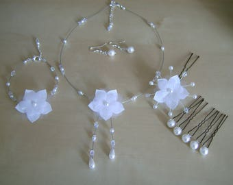 Adornment jewelry Necklace/Bracelet/earrings/spikes/Crystal white bridal/wedding beads flower original original (cheap)