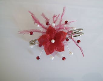 Clip/back train / Burgundy/ivory pearls flower feathers p brooch dress bridal/wedding/ceremony/Cocktail (cheap)